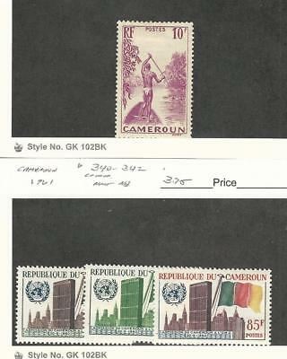 Cameroun, Postage Stamp, #253 Mint Hinged, 340-342 Mint NH, 1939-61