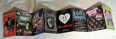 8 book related oversized postcards: DC Super Heroes, Glee, Monster High, etc.