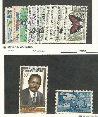 Central Africa, Postage Stamp, #1//10 (9 Diff), 119, 129 Used, 1959-70 Butterfly