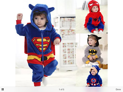 baby cartoon superman flannel costumes jumpsuit romper 3-24 mths *UK SELLER*