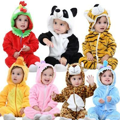 baby unisex animal flannel costume romper pyjamas jumpsuits 6-24mths *UK SELLER*