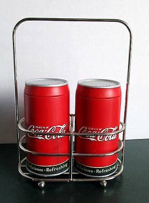 """Coca Cola Salt & Pepper Shakers Tin W Chrome Caddy 7"""" H Delicious Refreshing"""