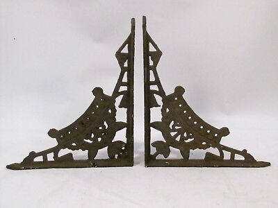 "VTG ANTIQUE CAST IRON VICTORIAN EASTLAKE ORIGINAL WALL SHELF BRACKETS 12"" x 10.5"