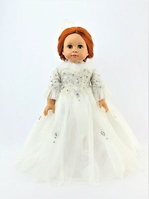 """White feather Ball Gown Fits 18"""" American Girl Doll Clothes"""