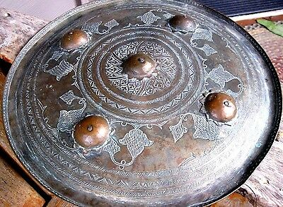 Antique 19C Asian Copper Vintage Shield India? Weathered Primitive Folk Art 15""