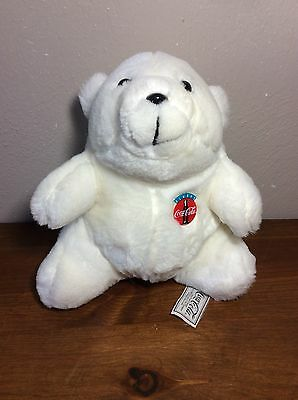 Coca Cola Stuffed Polar Bear - Coke Plush Animal - 1993 - 7""