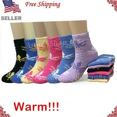 New Lot 6-12 Pairs Womens Colorful Leaves Fuzzy Soft Cozy Warm Slipper Socks