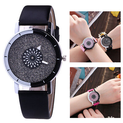 Latest Women's Bling Crystal Quartz Analog Leather Strap Bracelet Wrist Watches