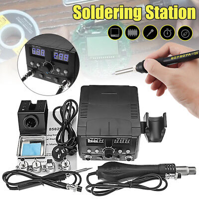 750W LCD Soldering Iron Desoldering Rework Solder Station Hot Air Heater Tool