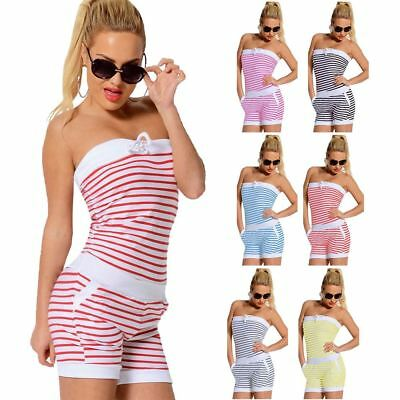 Summer Bandeau Striped Off Shoulder Jumpsuit Beach Party Playsuit Gym Sports