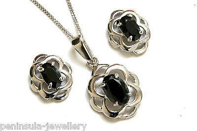 9ct White Gold Black CZ Celtic Pendant and Earring Set Made in UK Boxed