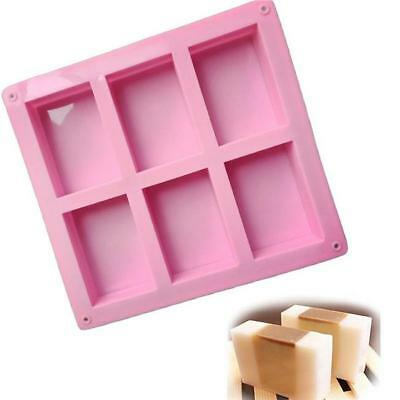 6-Cavity Rectangle Soap Mold Silicone Mould Tray Craft Making Pink B