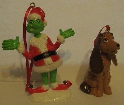 Dr. Seuss Grinch Who Stole Christmas Santa Grinch and Max Dog Artesian Ornaments