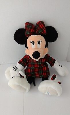 Disney Store Minnie Mouse Plaid And Checks Dress Bunny Sleepers Soft Plush Toy