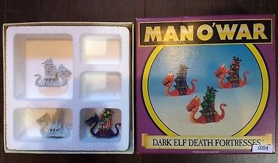 Death Fortresses x3 - Dark Elf Fleet - Man O War - Warhammer - With Box - Elves