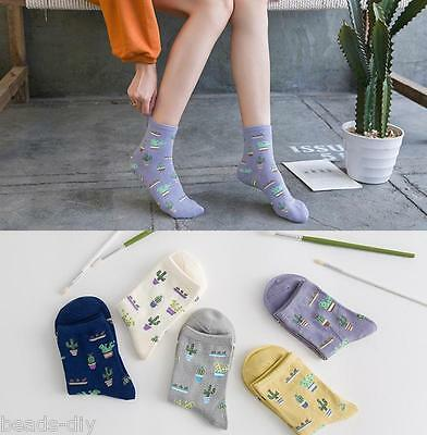 5 Pairs Women Girls Cotton Ankle Socks Korean Style Cactus Print Warm Sock LOT