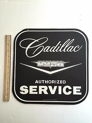 """CADILLAC Authorized Service Embossed Tin Sign Garage Man Cave 14"""" Inches Large"""