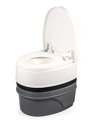 Camco Premium Portable Travel Toilet With Three Directional Flush And Swivel Dum