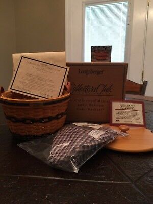Longaberger  JW Collection Corn Basket Miniature   Certificate of Authenticity