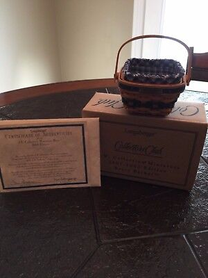 Longaberger  JW Collection Berry Basket Miniature   Certificate of Authenticity