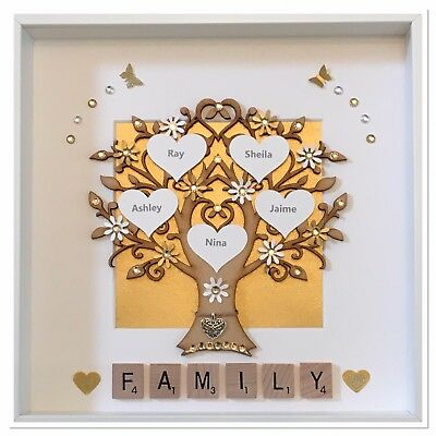 Personalised Silver Glitter Wedding Family Tree 3D Box Picture Frame Silver Glitter