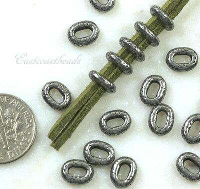 TierraCast, Distressed, Lg Hole Oval Beads, 8x6mm, Antiqued Pewter, 10 Pcs, 9040