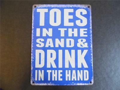 Retro Beach Hut Metal Sign Seaside Plaque *toes In The Sand & Drink In The Hand*