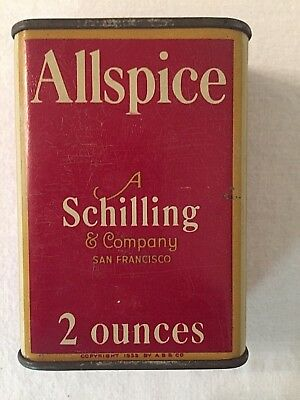 Vintage Schilling Spice Can Tin  ALLSPICE  2oz.  PRICE JUST REDUCED!