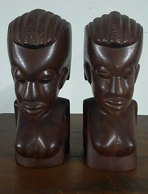 "VTG Hand Carved Heavy Wood African Woman Bust  sculpture statues 10"" set of two"