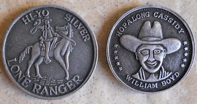 Hopalong Cassidy and Lone Ranger good luck horseshoe coins western tokens coin