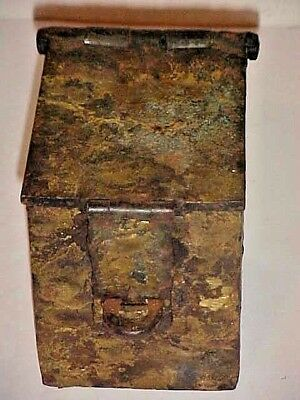 OLD  - PRIMITIVE  IRON PERSONAL STRONG BOX CIRCA EARLY 20th CENTURY