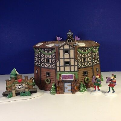 Dept 56 Dickens Village THE OLD GLOBE THEATRE Set of 4 w/ box Combine Shipping!