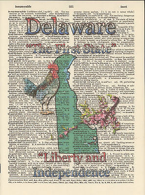 Delaware State Map Symbols Altered Art Print Upcycled Vintage Dictionary Page