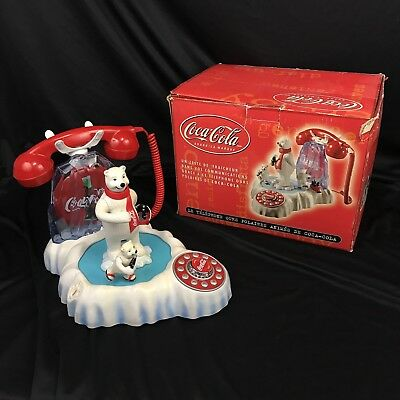 Coca Cola Animated Polar Bear Phone Skating Lighted Iceberg With Box Tested