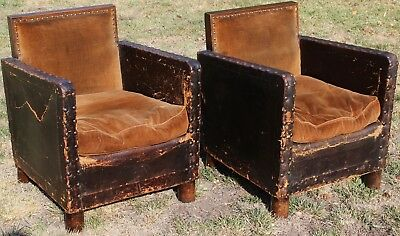 PAIR OF ANTIQUE ORIGINAL FRENCH LEATHER ART DECO CLUB ARM CHAIRS 1920s