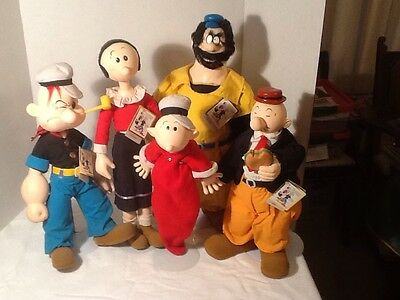 Popeye Five Piece Tall Doll Collection From 1985 Original Clothing With Stands
