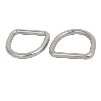 30mmx27mmx5mm 304 Stainless Steel Thickening Welded D Ring Silver Tone 2pcs