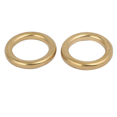 16mm Inner Dia Copper Metal Round Shaped Welded Loop Ring Gold Tone 2pcs