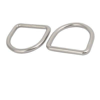 60mmx57mmx8mm 304 Stainless Steel Thickening Welded D Ring Silver Tone 2pcs