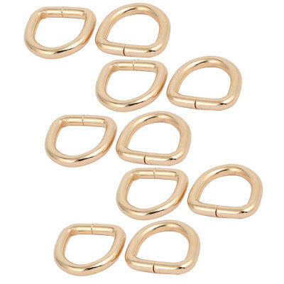 20mm Inner Width Zinc Alloy Thickening Non Welded D Ring Gold Tone 10pcs