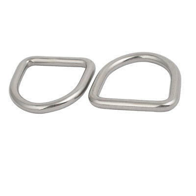 50mmx47mmx8mm 304 Stainless Steel Thickening Welded D Ring Silver Tone 2pcs