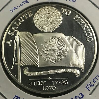 Mexico 1970 Salute To Mexico Sterling Silver Proof Uncirculated Medal Coin
