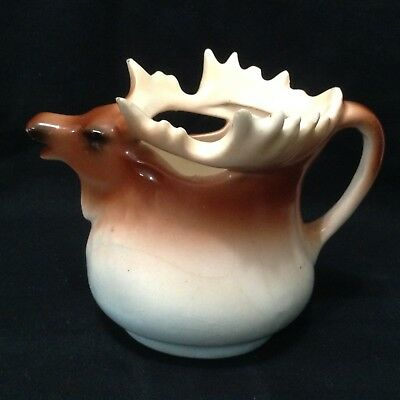 Vintage Moose Elk Milk Coffee Creamer Pitcher Czechoslovakia
