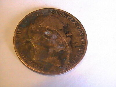 1908 UK Great Britain 1/2 Penny Coin, King Edward VII, 25.5 mm