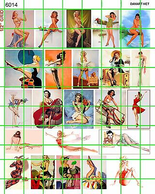 """6014 DAVE'S DECALS VINTAGE CLASSIC PIN UPS 1"""" POSTERS 40's 50's GARAGE ART DIO"""