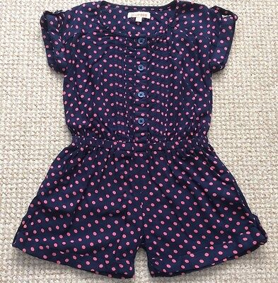 Girls Bluezoo Navy And Pink Spotted Playsuit Age 4 Years Excellent Condition