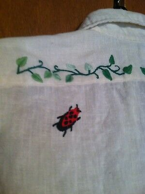 Vintage NOS Women's 70's LEVI's Embroidered Hippie Woodstock SHIRT S Lady Bug