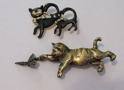 Lot of Animal Signed Cat Pins Brooches