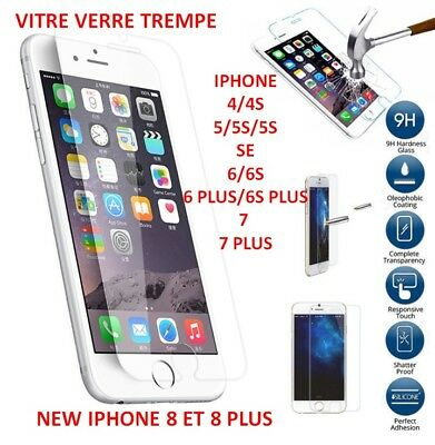 Vitre Protection Film Ecran Protecteur Verre Trempe Iphone 4/5/6/7/8/s/se/plus