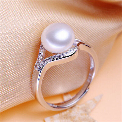 Freshwater Pearl white Women Fashion 925 Silver Party Jewelry Lady Ring Gift